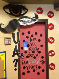 Mustache Classroom Door Decoration. Omg....dare I do this ...