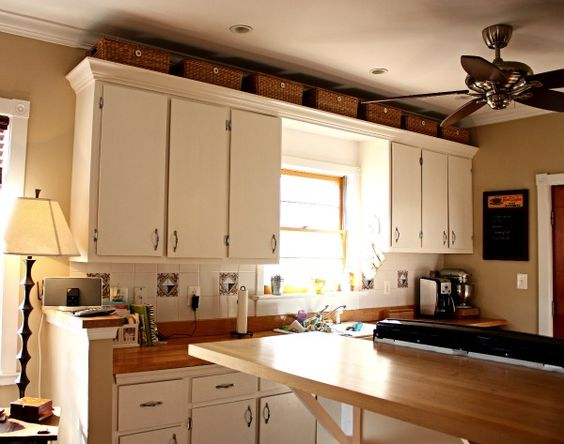 over kitchen cabinet storage Baskets, Cabinets and Kitchen cabinets on Pinterest