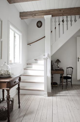 painted stairs and muted floorboards