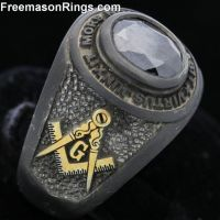 Custom Black Oxidized Masonic Class Ring | Masonic Rings ...