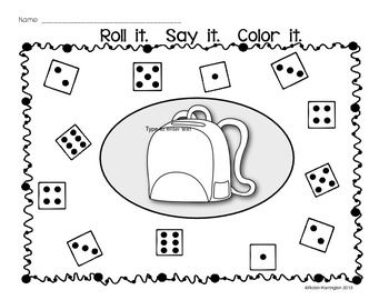 FREEBIE!! Dice Game: {Roll It. Say It. Color It.} Supports