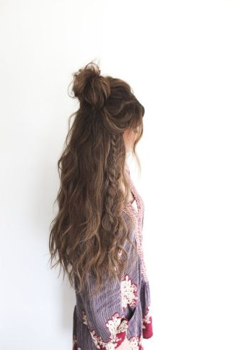 Half up top knot and braid: