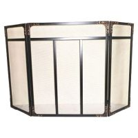 Threshold Riveted Fireplace Screen - Black/Brushed Bronze ...