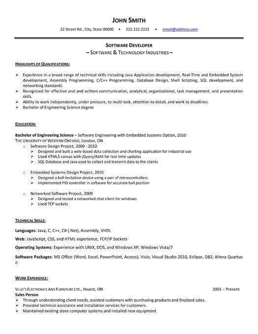 software developer resume sample inded
