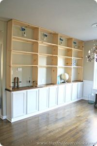 DIY built-ins bookcase with base cabinets from the big box ...
