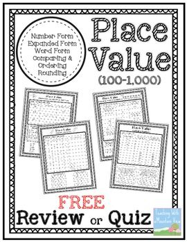 FREE Place Value Quiz or Review 100-1,000. FREE Place