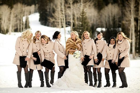 Bridesmaids in peacoats and tights: