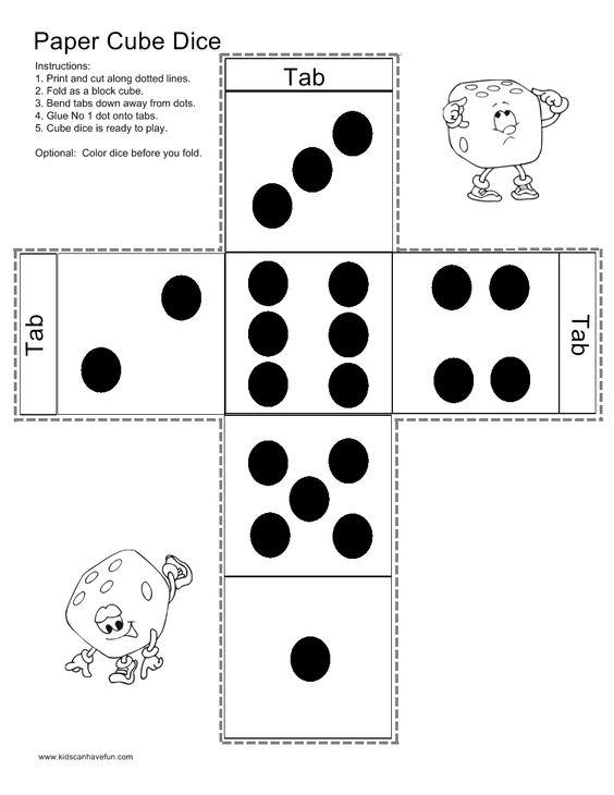 Make a Paper Cube Dice http://www.kidscanhavefun.com/paper