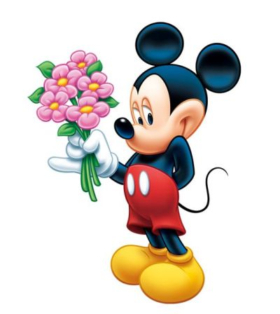 Disney Inspired Rooms Mickey Mouse Bashfully Holding Flowers