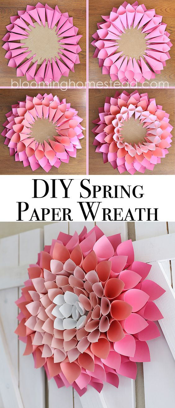 Check out this adorable and affordable DIY Spring Wreath tutorial via Blooming Homestead - This paper dahlia wreath is so easy to make following this step by step tutorial.
