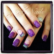 acrylic nail design. love purple