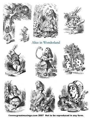 Digital Collage Sheet Download Black white Alice in