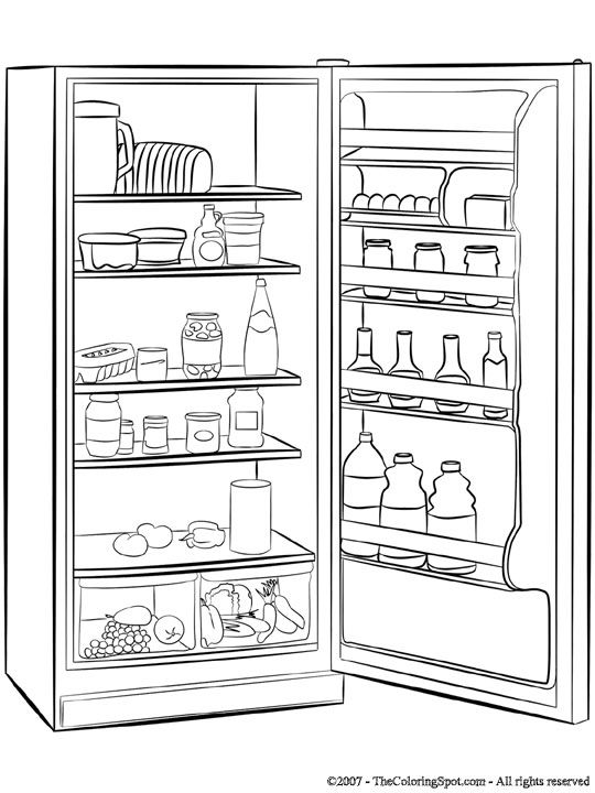 Refrigerators, Coloring pages and Free printable coloring