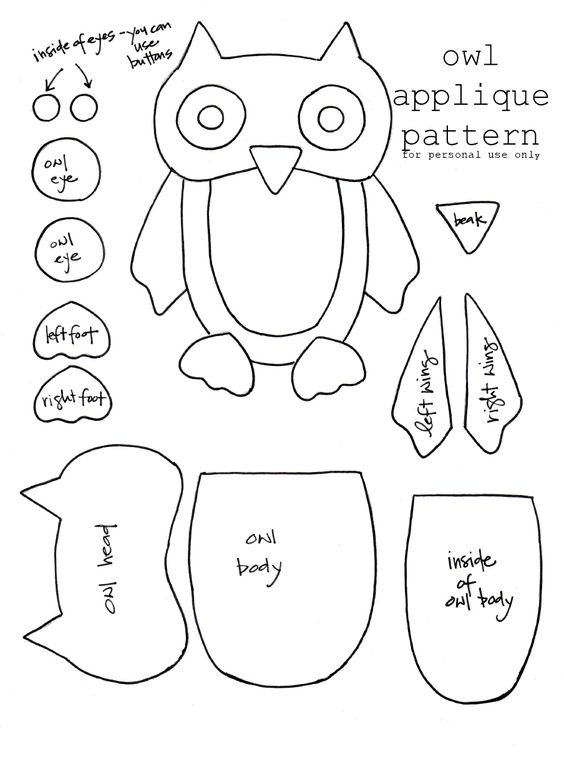 Owl applique pattern for a christmas stocking