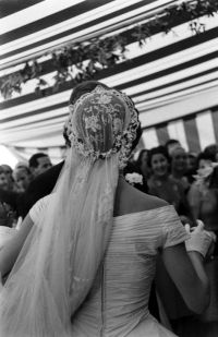Great picture of Jackie's wedding veil and back of her ...