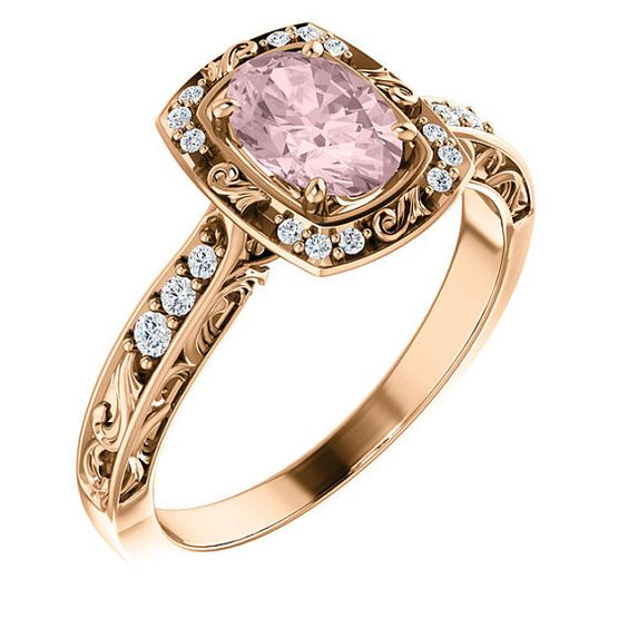 Unique Diamond Halo Engagement Ring 14K Rose Gold