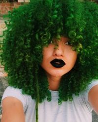 Green colored curly hair. | Curls | Pinterest | Green ...