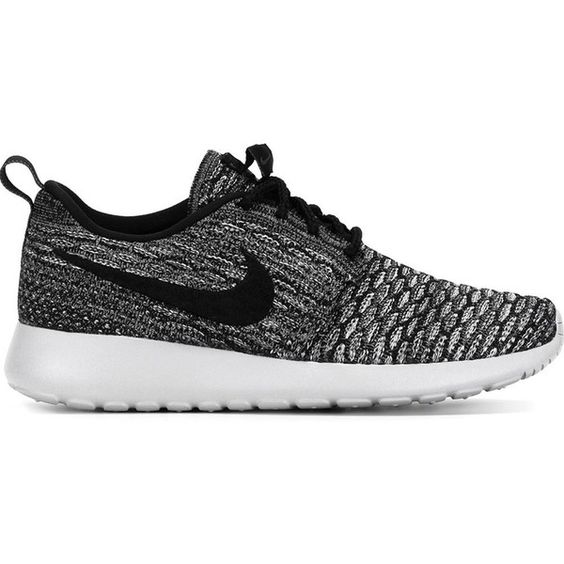 Nike Roshe One Flyknit Sneakers found on Polyvore featuring shoes, sneakers, nike, black, laced shoes, round toe shoes, round cap, lace up shoes and nike shoes: