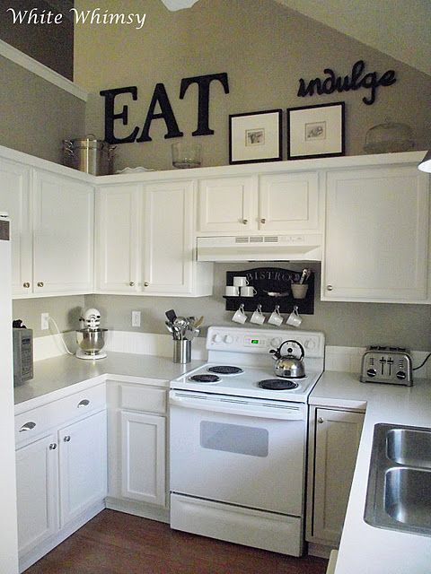 black accents, white cabinets! Really liking these small