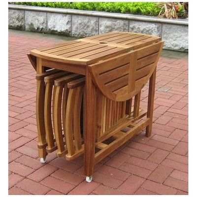 New 5 Piece Folding Outdoor Patio Table And Chair Set