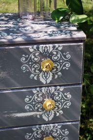 By using a stencil and decorative handles you can transform an old shabby dresser. #HomeOwnerBuff