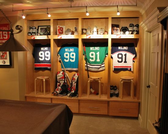 Family Room Sports Memorabilia Design, Pictures, Remodel