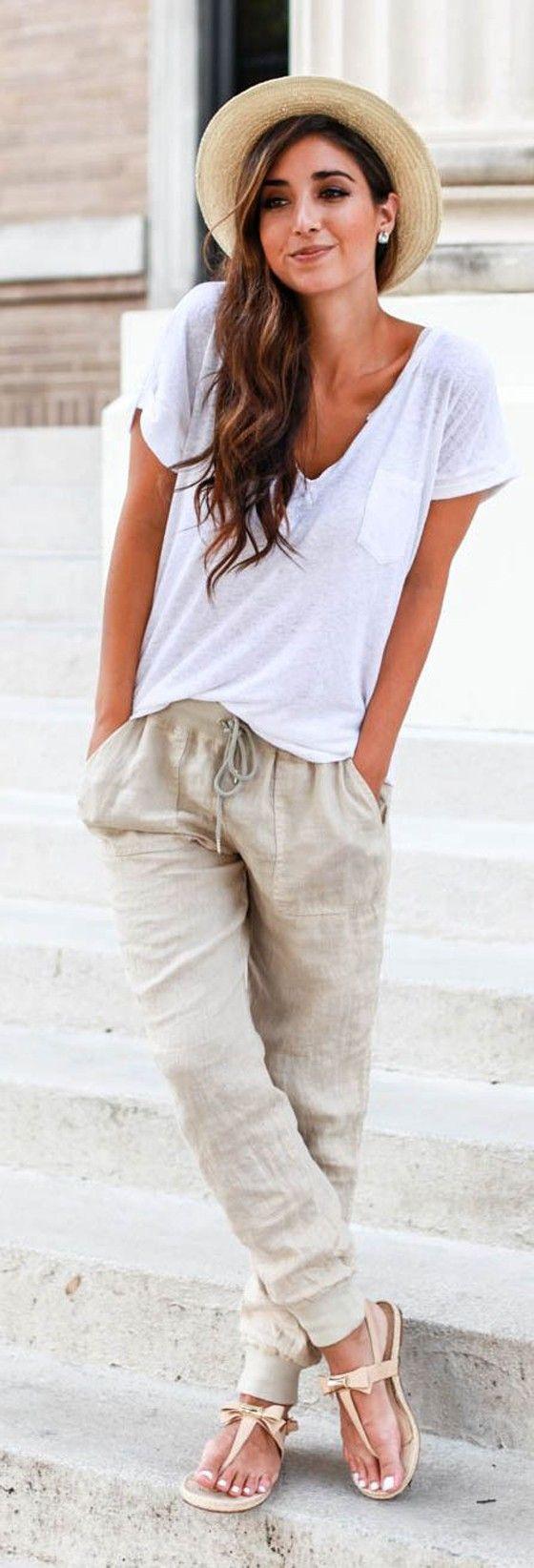Khaki Plain Belt Drawstring Waist Harem Pants - Pants - Bottoms: