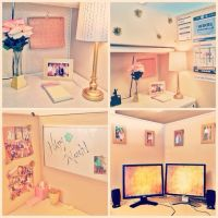 pink and gold cubicle decor. | Decorating | Pinterest ...
