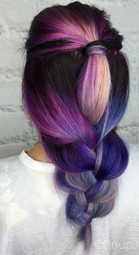 Purple pink braided dyed hair color inspiration idea ...