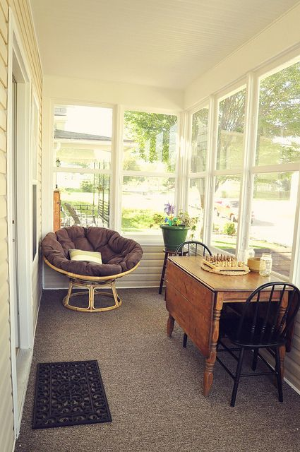 Enclosed Front Porch with dropleaf table To think a front