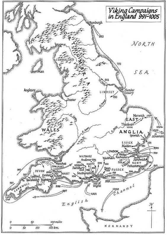 Maps Illustrating the Viking Invasions of England By T.D