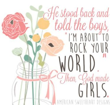 "Love the idea of putting lyrics from this song onto art for a baby girl's nursery - RaeLynn- ""God made Girls"""
