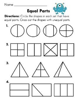 Worksheets, Fractions and First grade on Pinterest