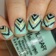 cute aztec nails in teal gold