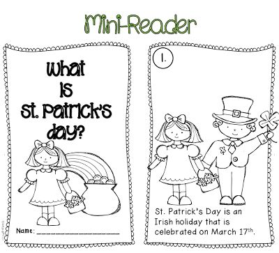 St. Patrick's Day O' Fun! Interactive mini-reader, class