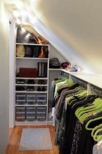 Closet solution for angled ceiling in coat closet ...