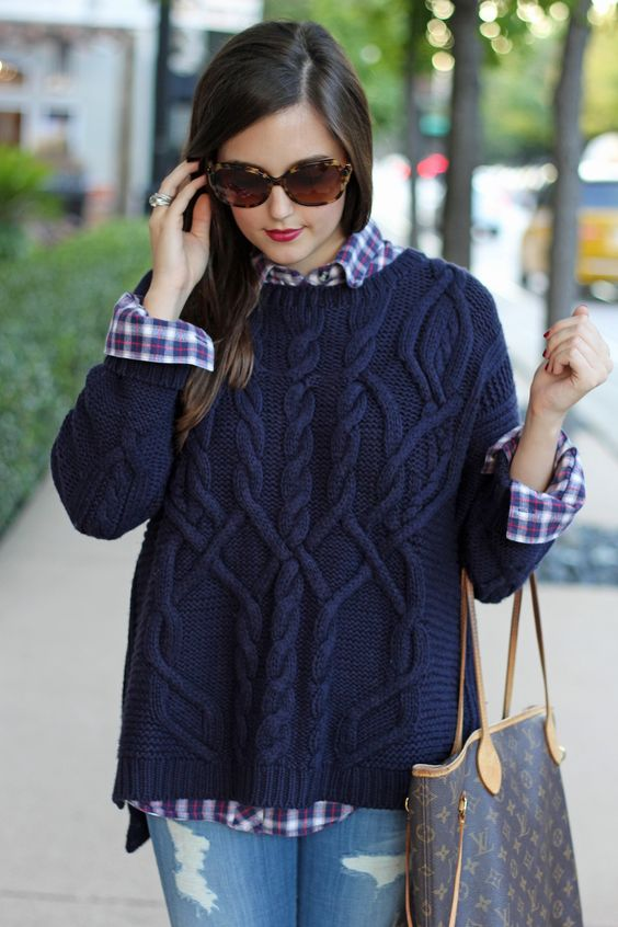 navy cable knit sweater & plaid shirt: