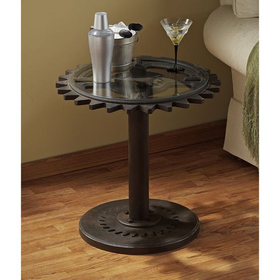 Authentic Steampunk Industrial Age Gears Side Table
