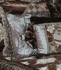 Luxury High End Tuscan Style Bedding and Accent Pillows by
