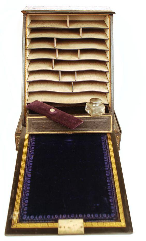 Antique Nineteenth Century Black Lacquer Boite à Courrier/ Letter Box: