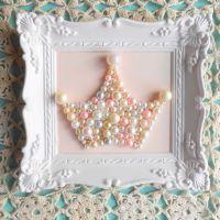 Pearl princess crown art. Mosaic wall art. Pastel pink