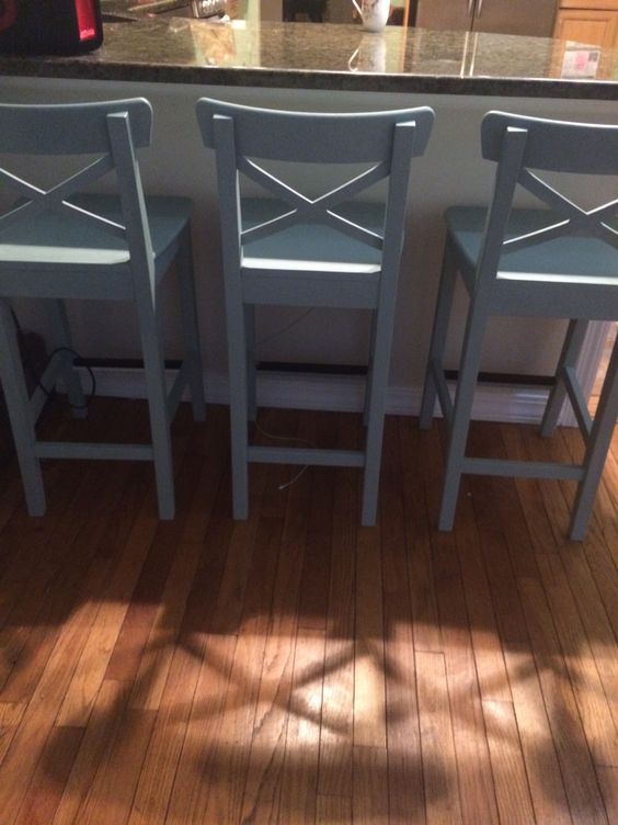 bar chair ikea fold up lounge outdoor ingolf counter stools painted with annie sloan chalk paint in duck egg. clear wax coat ...