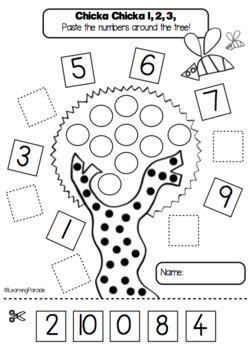 FREE kindergarten printable based on Chicka Chicka 1,2,3