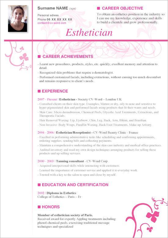 sample cover letter for resume esthetician