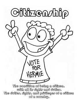 Citizenship Character Education Coloring sheet with
