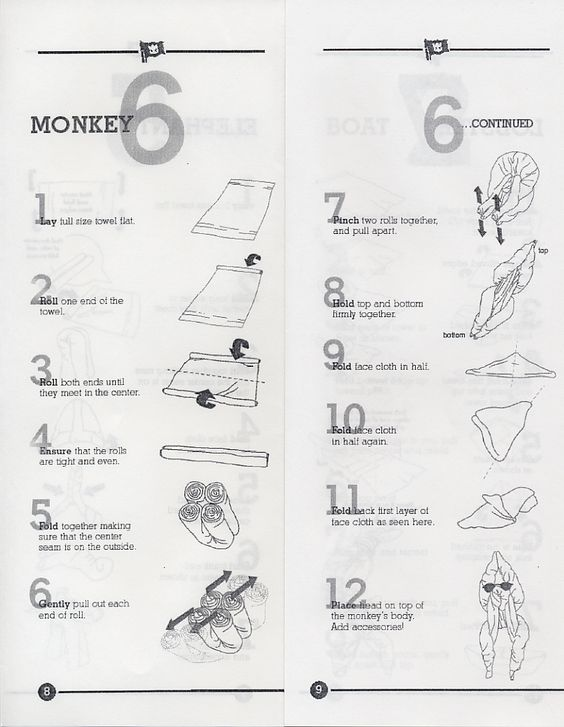 Towel Folding diagrams. How to fold towels like you see on