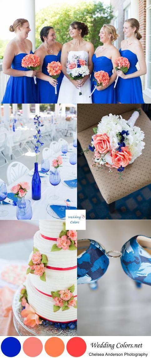 Cobalt Blue and Coral Virginia Wedding  Cobalt blue All love and Brides