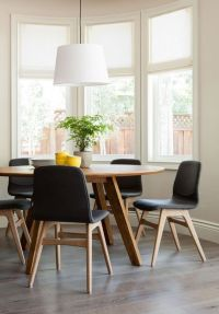 Mid Century Modern dining nook with round table, and drum ...