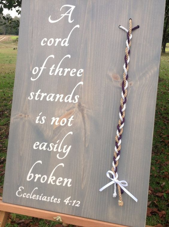 A Cord Of Three Strands Unity Colored Cord Wedding Unity