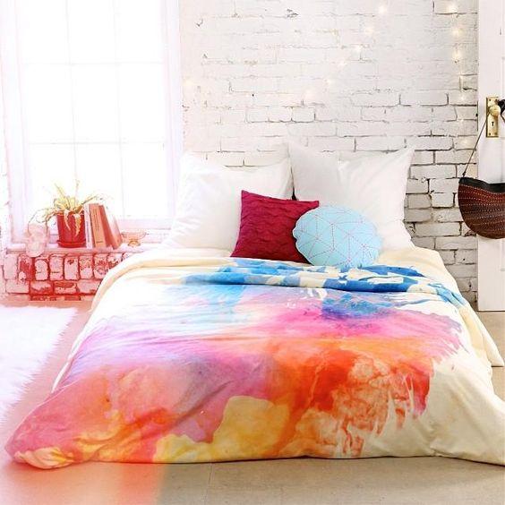 Watercolor Decor Bedding Brick Wall Throw Pillows Indoor Plants Interior Design Trends
